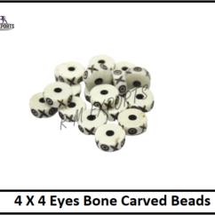 4X4 Eyes Bone Carved Beads